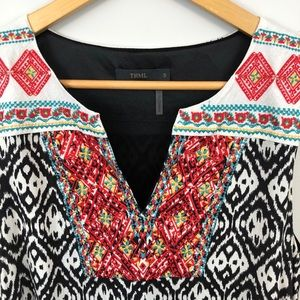 THML tribal embroidered multicolored ikat dress